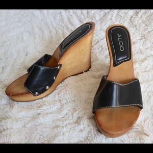 Black slip on wedges with wooden heel